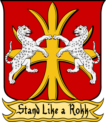 "Blazon: Gules, on a cross flory triparted Or, two snow leopards combatant armed and langued of the first. Motto: ""Stand Like a Rokk"""